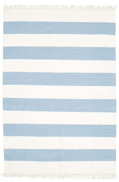 Cotton Stripe - Jasny Niebieski Dywan 140X200 Nowoczesny Tkany Ręcznie Beżowy/Jasnoniebieski (Bawełna, Indie)