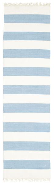 Cotton Stripe - Jasny Niebieski Dywan 80X300 Nowoczesny Tkany Ręcznie Chodnik Beżowy/Jasnoniebieski (Bawełna, Indie)