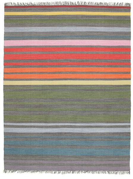 Rainbow Stripe - Szary Dywan 200X250 Nowoczesny Tkany Ręcznie Jasnoszary/Zielony/Oliwkowy (Bawełna, Indie)