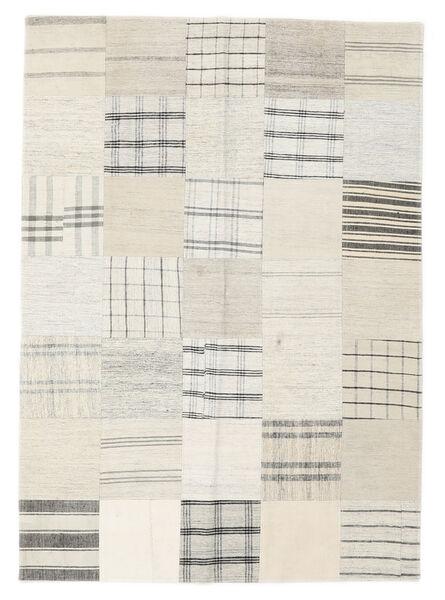 Kilim Patchwork Dywan 142X200 Nowoczesny Tkany Ręcznie Biały/Creme/Beżowy/Jasnoszary (Wełna, Turcja)