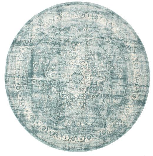Jacinda - Jasny Dywan Ø 300 Nowoczesny Okrągły Jasnoszary/Turkusowy Niebieski Duży ( Turcja)