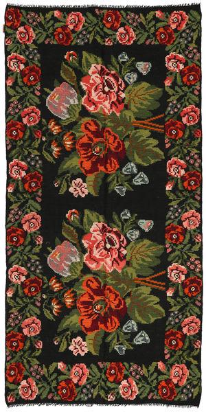 Kilim Rose Dywan 158X315 Orientalny Tkany Ręcznie Czarny/Ciemnozielony (Wełna, Mołdawia)
