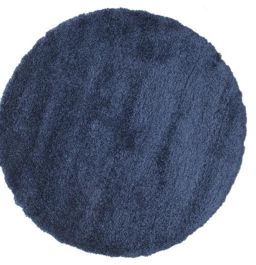 Shaggy Sadeh - Niebieski Dywan Ø 150 Nowoczesny Okrągły Ciemnoniebieski ( Turcja)