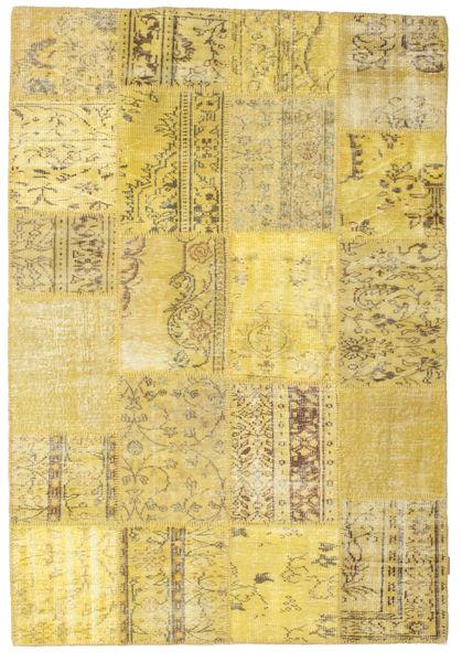 Patchwork Dywan 159X232 Nowoczesny Tkany Ręcznie Ciemnobeżowy/Żółty (Wełna, Turcja)