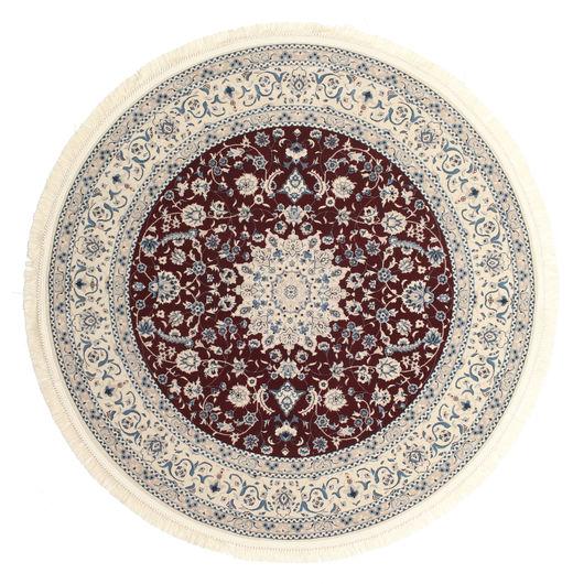 Nain Emilia - Ciemnoczerwony Dywan Ø 200 Orientalny Okrągły Jasnoszary/Beżowy/Ciemnobrązowy ( Turcja)