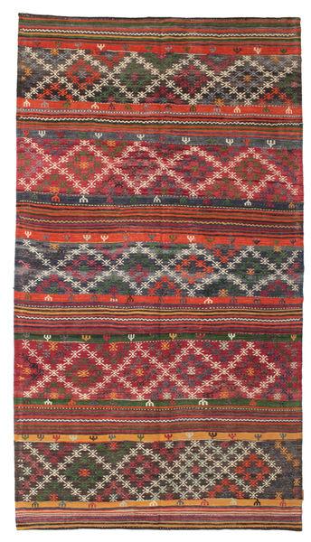 Kilim Pół -Antyk Tureckie Dywan 168X300 Orientalny Tkany Ręcznie Ciemnoczerwony/Ciemnoszary (Wełna, Turcja)