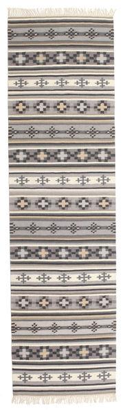 Kilim Cizre Dywan 80X300 Nowoczesny Tkany Ręcznie Chodnik Jasnoszary/Beżowy (Wełna, Indie)