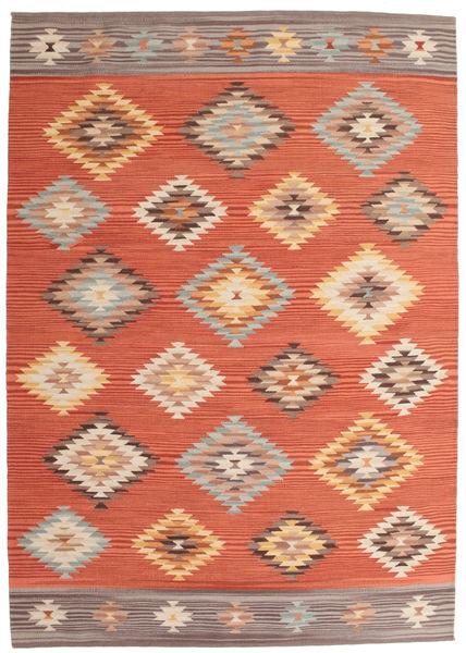 Kilim Denizli Dywan 160X230 Nowoczesny Tkany Ręcznie Pomarańczowy/Czerwony (Wełna, Indie)
