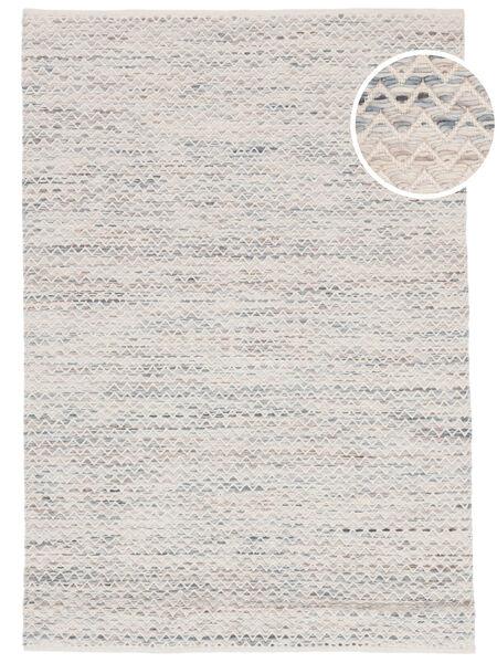 Chevron Waves - Jasny Dywan 160X230 Nowoczesny Tkany Ręcznie Beżowy/Jasnoszary ( Indie)