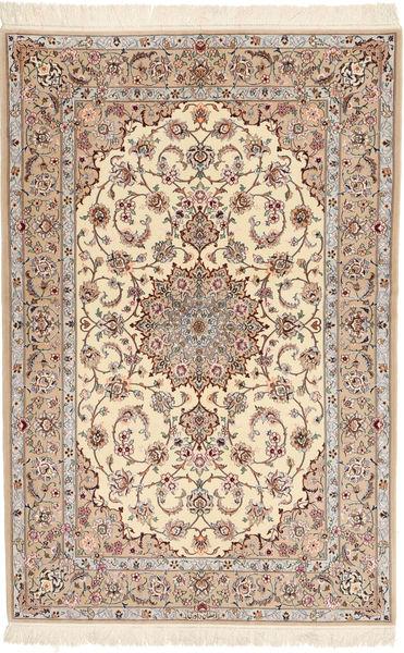 Isfahan Jedwabna Osnowa Davudi Dywan 130X202 Orientalny Tkany Ręcznie Beżowy/Jasnoszary (Wełna/Jedwab, Persja/Iran)