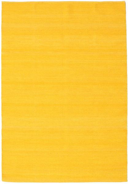 Kilim Loom - Żółty Dywan 140X200 Nowoczesny Tkany Ręcznie Pomarańczowy (Wełna, Indie)