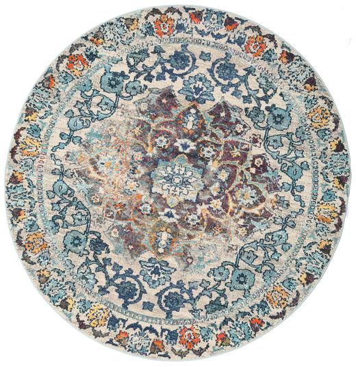 Cheverny - Niebieski/Cream Dywan Ø 200 Nowoczesny Okrągły Jasnoszary/Ciemnobeżowy ( Turcja)