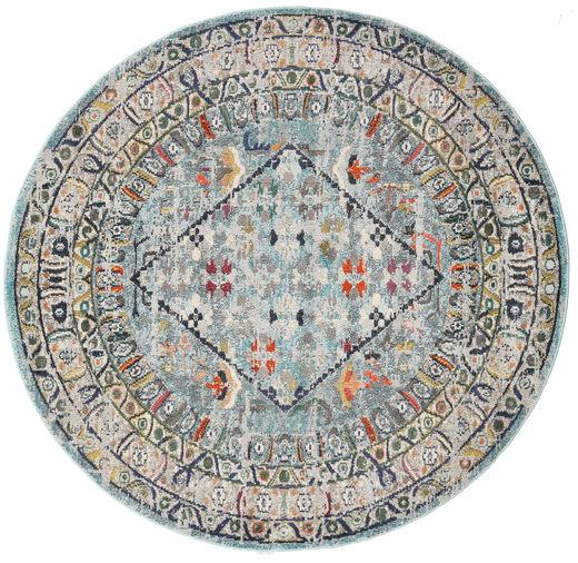 Chillon - Jasny Niebieski/Multi Dywan Ø 200 Nowoczesny Okrągły Jasnoszary/Ciemnozielony ( Turcja)