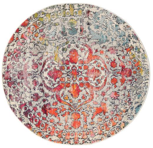 Kaleidoscope - Multi Dywan Ø 150 Nowoczesny Okrągły Jasnoszary/Ciemnobrązowy ( Turcja)