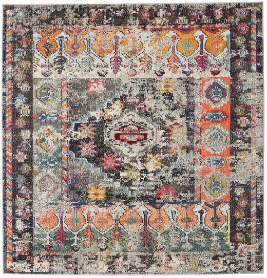 Cassiopeia - Vintage Dywan 200X200 Nowoczesny Kwadratowy Jasnoszary/Czarny ( Turcja)