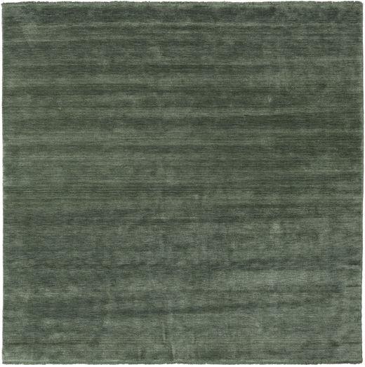 Handloom Fringes - Leśna Zieleń Dywan 250X250 Nowoczesny Kwadratowy Ciemnozielony/Zielony/Oliwkowy Duży (Wełna, Indie)