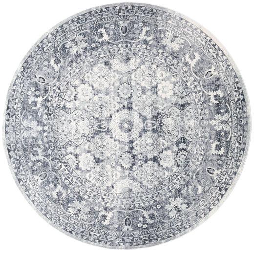 Pasha - Ciemnoniebieski/Szary Dywan Ø 200 Nowoczesny Okrągły Biały/Creme/Jasnoszary ( Turcja)