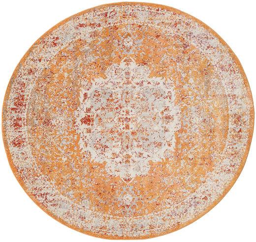 Nadia - Pomarańczowy Dywan Ø 200 Nowoczesny Okrągły Jasnobrązowy/Ciemnobrązowy ( Turcja)