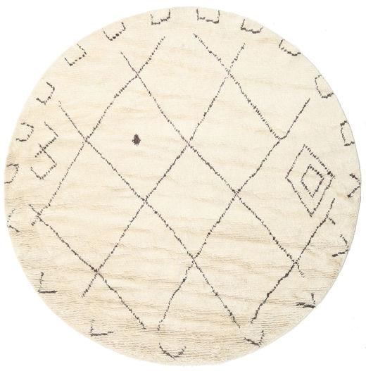 Almaaz - White Dywan Ø 250 Nowoczesny Tkany Ręcznie Okrągły Beżowy/Biały/Creme Duży (Wełna, Indie)