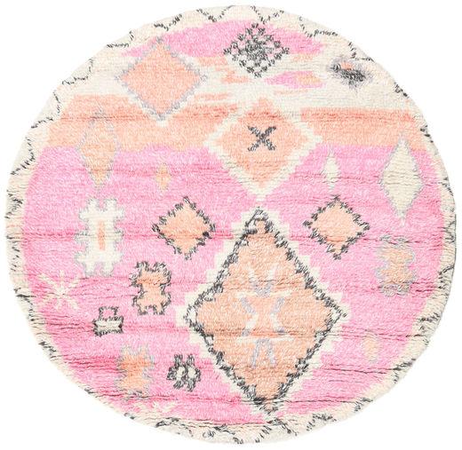 Odda - Różowy Dywan Ø 200 Nowoczesny Tkany Ręcznie Okrągły Jasnoróżowy/Beżowy (Wełna, Indie)