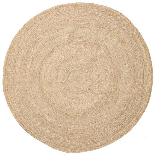 Dywan Zewnętrzny Solana Plain Jute - Natural Dywan Ø 200 Nowoczesny Tkany Ręcznie Okrągły Beżowy/Ciemnobeżowy (Dywan Jutowe Indie)