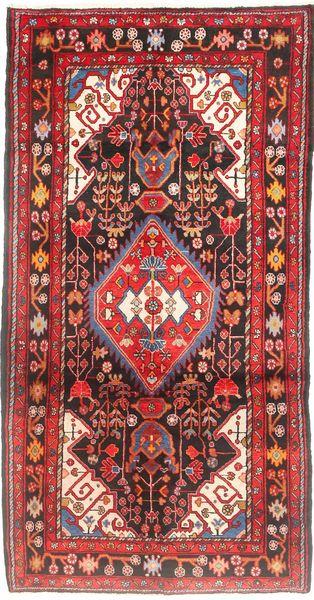 Nahawand Dywan 155X297 Orientalny Tkany Ręcznie Chodnik Ciemnoczerwony/Ciemnobrązowy (Wełna, Persja/Iran)