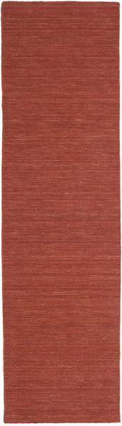 Kilim Loom - Rdzawy Dywan 80X300 Nowoczesny Tkany Ręcznie Chodnik Ciemnoczerwony (Wełna, Indie)