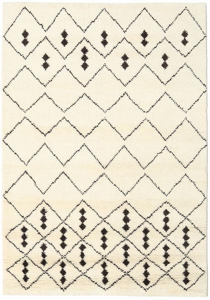 Berber Stick Shaggy Dywan 156X208 Nowoczesny Tkany Ręcznie Beżowy/Biały/Creme (Wełna, Indie)