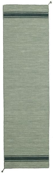 Ernst - Zielony/Ciemny _Green Dywan 80X300 Nowoczesny Tkany Ręcznie Chodnik Jasnozielony/Ciemnoszary (Wełna, Indie)