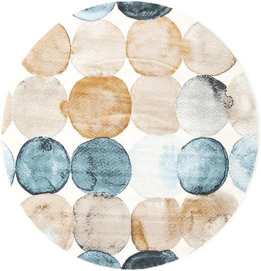 Dreamy Dots Dywan Ø 200 Nowoczesny Okrągły Beżowy/Ciemnobeżowy ( Turcja)