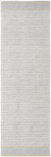 Norma - Żółty Dywan 80X350 Nowoczesny Tkany Ręcznie Chodnik Jasnoszary/Biały/Creme (Bawełna, Indie)
