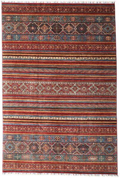 Shabargan Dywan 204X304 Nowoczesny Tkany Ręcznie Ciemnoczerwony/Ciemnobrązowy (Wełna, Afganistan)