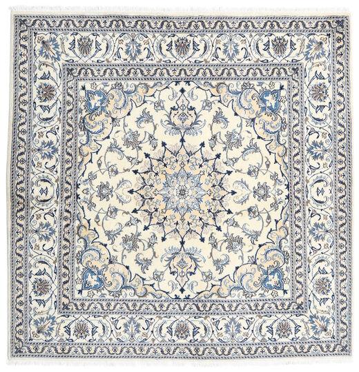 Nain Dywan 196X197 Orientalny Tkany Ręcznie Kwadratowy Jasnoszary/Biały/Creme (Wełna, Persja/Iran)