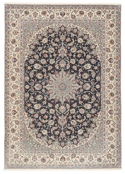 Isfahan Jedwabna Osnowa Dywan 253X360 Orientalny Tkany Ręcznie Jasnoszary/Czarny Duży (Wełna/Jedwab, Persja/Iran)