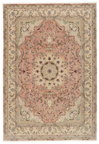 Tebriz 50 Raj Dywan 250X355 Orientalny Tkany Ręcznie Brązowy/Ciemnobeżowy Duży (Wełna/Jedwab, Persja/Iran)