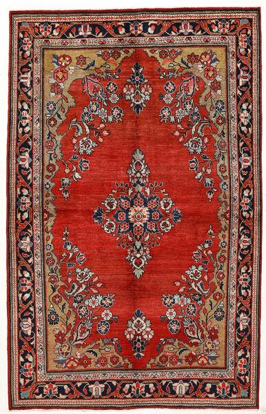 Saruk Dywan 144X230 Orientalny Tkany Ręcznie Ciemnoczerwony/Rdzawy/Czerwony (Wełna, Persja/Iran)