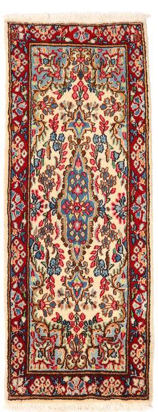 Kerman Dywan 57X145 Orientalny Tkany Ręcznie Chodnik Ciemnoczerwony/Beżowy (Wełna, Persja/Iran)