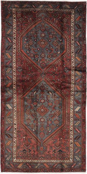 Hamadan Dywan 111X226 Orientalny Tkany Ręcznie Czarny/Ciemnobrązowy (Wełna, Persja/Iran)