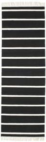 Dorri Stripe - Czarny/White Dywan 80X250 Nowoczesny Tkany Ręcznie Chodnik Czarny/Biały/Creme (Wełna, Indie)