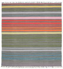 Rainbow Stripe - Szary Dywan 200X200 Nowoczesny Tkany Ręcznie Kwadratowy Ciemnoszary/Jasnoszary (Bawełna, Indie)