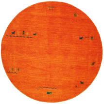 Gabbeh Indie - Pomarańczowy Dywan Ø 200 Nowoczesny Okrągły Czerwony/Rdzawy/Czerwony/Biały/Creme (Wełna, Indie)
