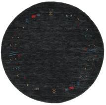 Gabbeh Loom Frame - Czarny/Szary Dywan Ø 150 Nowoczesny Okrągły Czarny (Wełna, Indie)