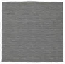 Kilim Loom - Ciemnoszary Dywan 200X200 Nowoczesny Tkany Ręcznie Kwadratowy Ciemnozielony/Jasnoszary (Wełna, Indie)