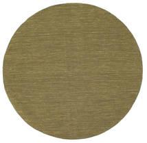Kilim Loom - Oliwkowy Dywan Ø 150 Nowoczesny Tkany Ręcznie Okrągły Zielony/Oliwkowy (Wełna, Indie)