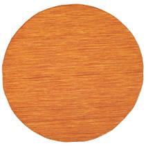Kilim Loom - Pomarańczowy Dywan Ø 150 Nowoczesny Tkany Ręcznie Okrągły Pomarańczowy (Wełna, Indie)