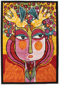 She Has Flowers In Her Hair Dywan 140X200 Nowoczesny Ciemnobrązowy/Pomarańczowy ( Turcja)