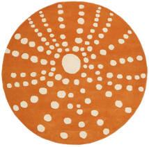 Sjöborre Handtufted - Pomarańczowy Dywan Ø 150 Nowoczesny Okrągły Jasnobrązowy/Pomarańczowy (Wełna, Indie)