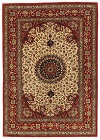 Kom Kork/Jedwab Dywan 137X197 Orientalny Tkany Ręcznie Ciemnobrązowy/Ciemnoczerwony (Wełna/Jedwab, Persja/Iran)