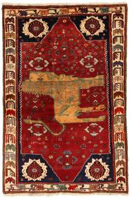 Kaszkaj Obrazkowy Dywan 130X200 Orientalny Tkany Ręcznie Ciemnoczerwony/Rdzawy/Czerwony (Wełna, Persja/Iran)