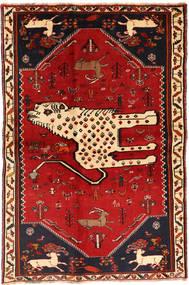 Kaszkaj Dywan 134X211 Orientalny Tkany Ręcznie Ciemnoczerwony/Rdzawy/Czerwony (Wełna, Persja/Iran)